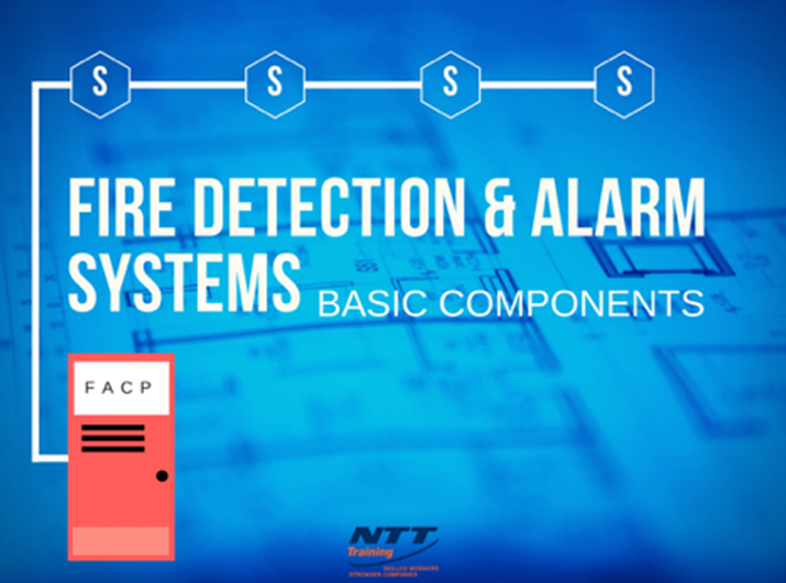 What are the basic components of a fire detection and alarm system?
